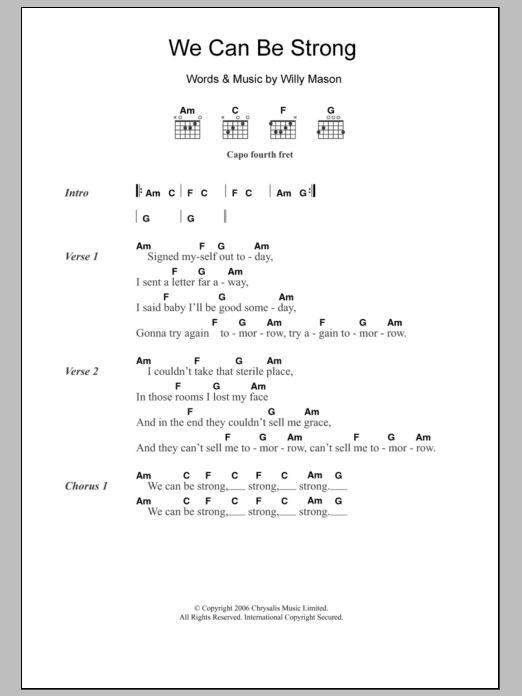 We Can Be Strong sheet music for guitar solo (chords, lyrics, melody) by Willy Mason