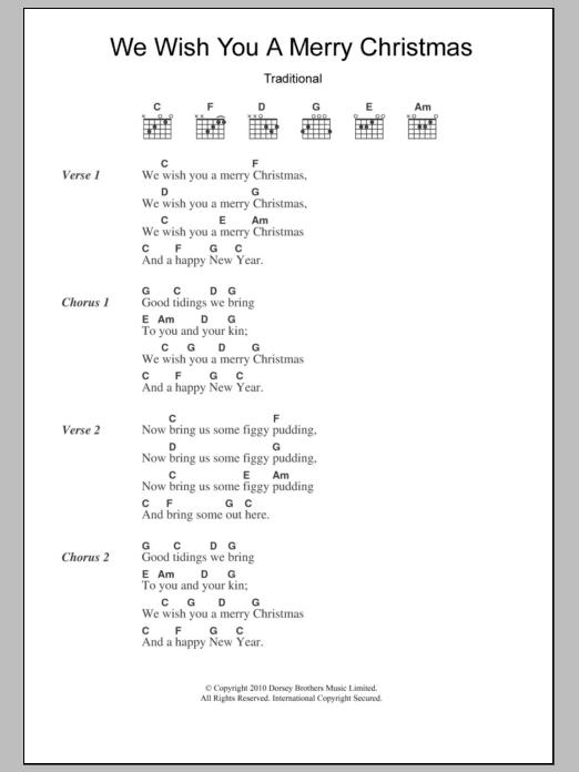 lyrics we wish you a mery: