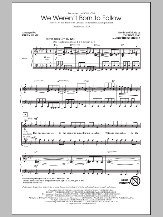 We Weren't Born To Follow sheet music for choir and piano (SATB) by Richie Sambora