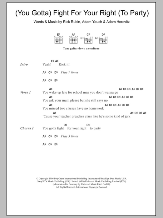 Fight For Your Right (To Party) sheet music for guitar solo (chords, lyrics, melody) by Rick Rubin