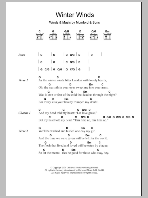 Winter Winds by Mumford u0026 Sons - Guitar Chords/Lyrics - Guitar Instructor