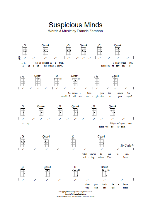 Suspicious Minds sheet music for ukulele (chords) by Francis Zambon