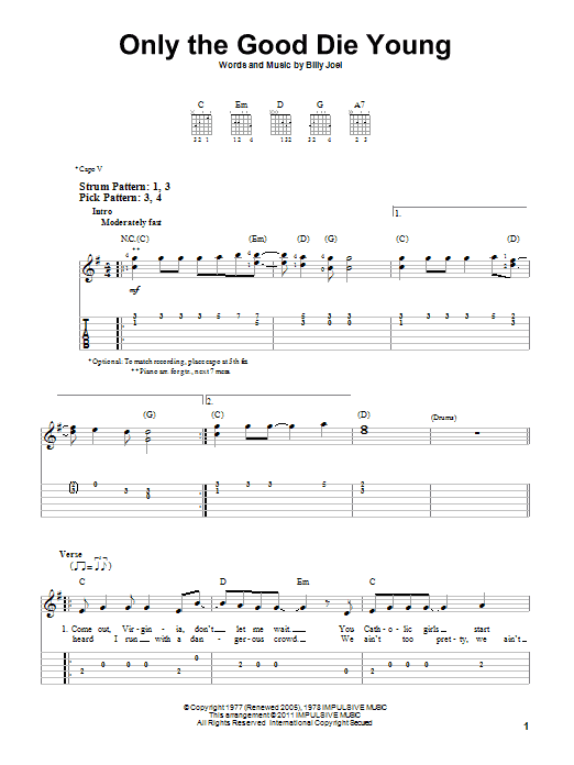 Tablature guitare Only The Good Die Young de Billy Joel - Tablature guitare facile