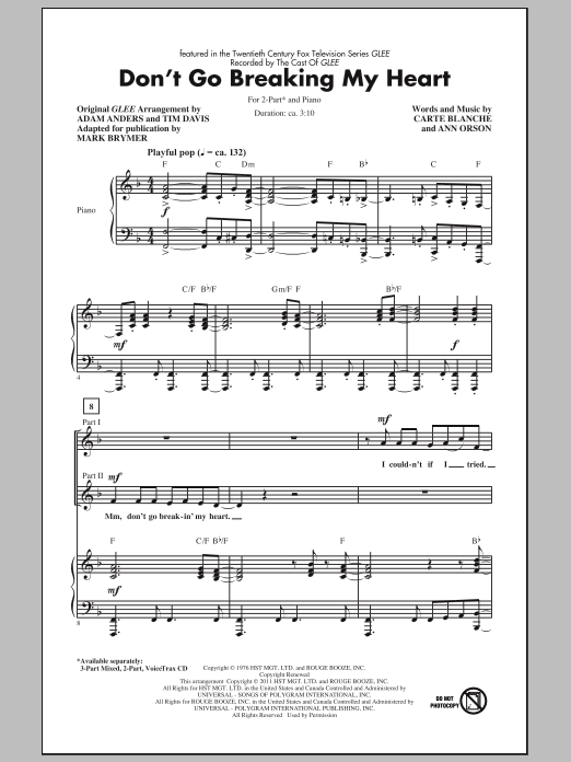 Don't Go Breaking My Heart sheet music for choir and piano (duets) by Ann Orson
