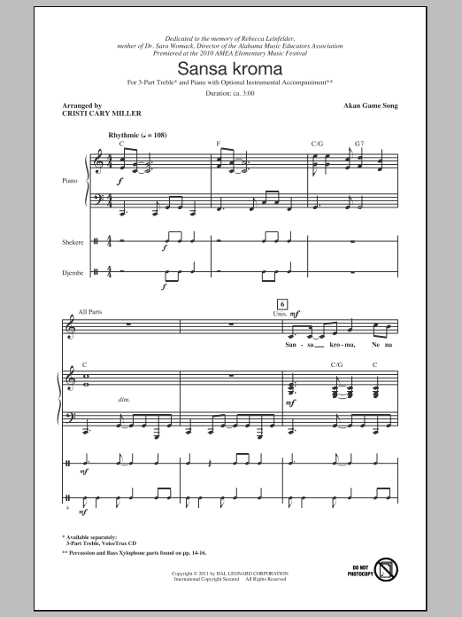 Sansa Kroma sheet music for choir and piano (chamber ensemble) by Cristi Cary Miller