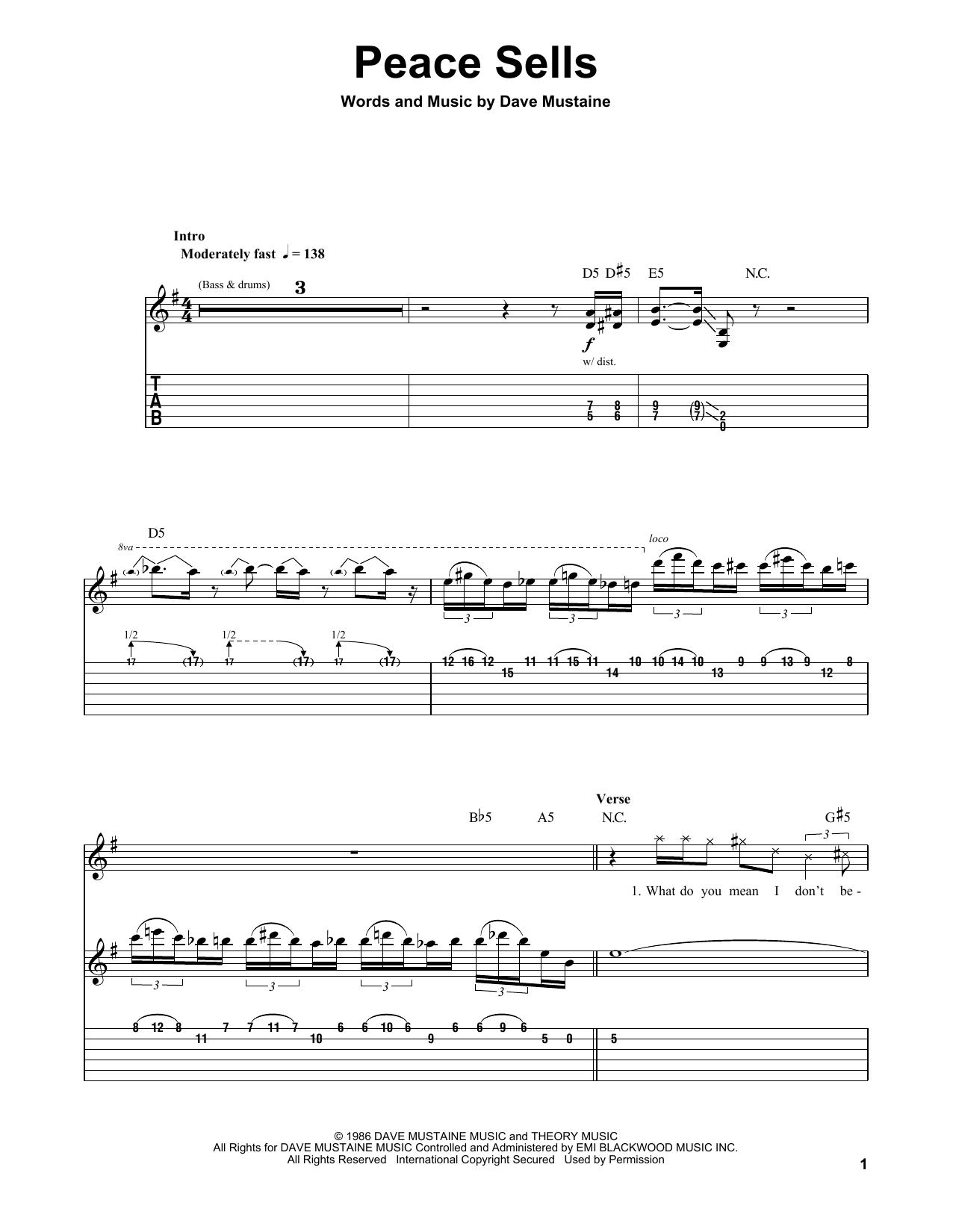 Tablature guitare Peace Sells de Megadeth - Tablature Guitare