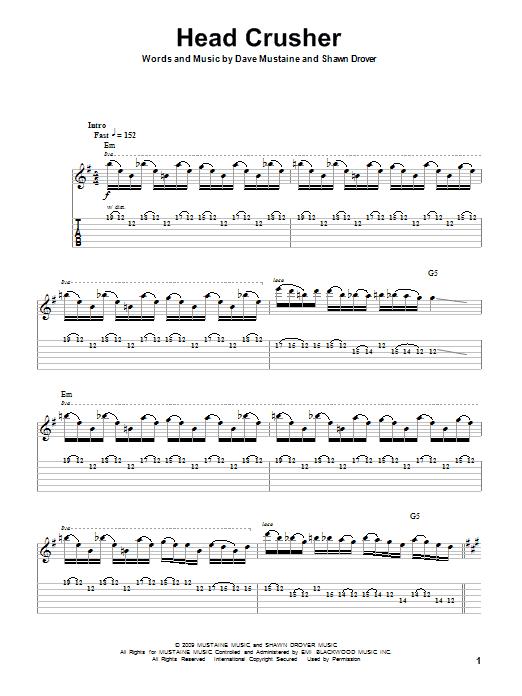 Tablature guitare Head Crusher de Megadeth - Tablature Guitare