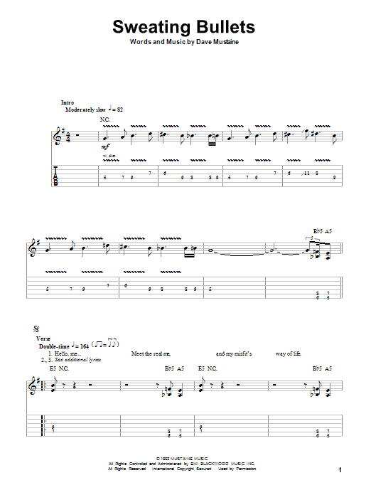 Tablature guitare Sweating Bullets de Megadeth - Tablature Guitare