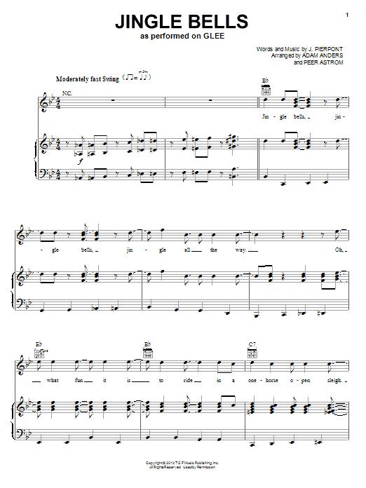 Partition piano Jingle Bells de Glee Cast - Piano Voix Guitare (Mélodie Main Droite)