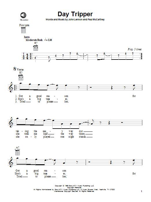 Tablature guitare Day Tripper de The Beatles - Ukulele