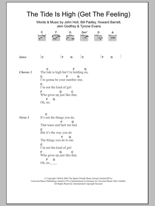 The Tide Is High (Get The Feeling) sheet music for guitar solo (chords, lyrics, melody) by Tyrone Evans