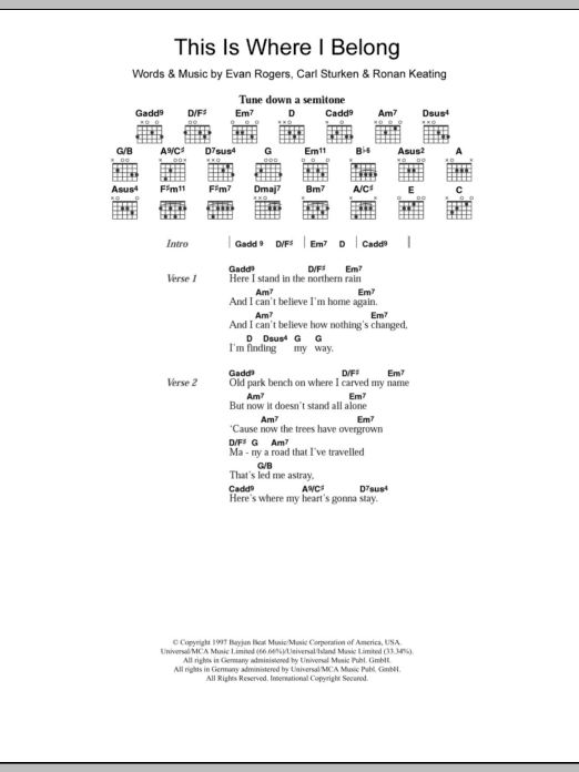 This Is Where I Belong sheet music for guitar solo (chords, lyrics, melody) by Ronan Keating