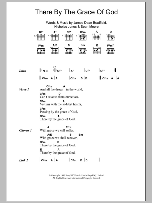 There By The Grace Of God sheet music for guitar solo (chords, lyrics, melody) by Sean Moore