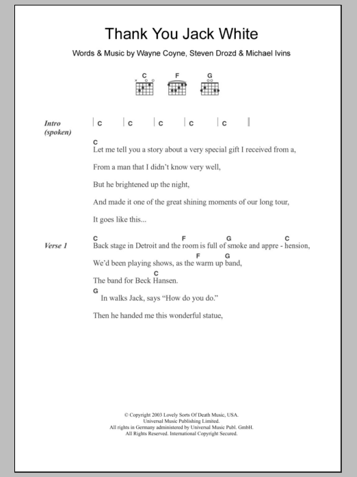 Thank You Jack White sheet music for guitar solo (chords, lyrics, melody) by Wayne Coyne