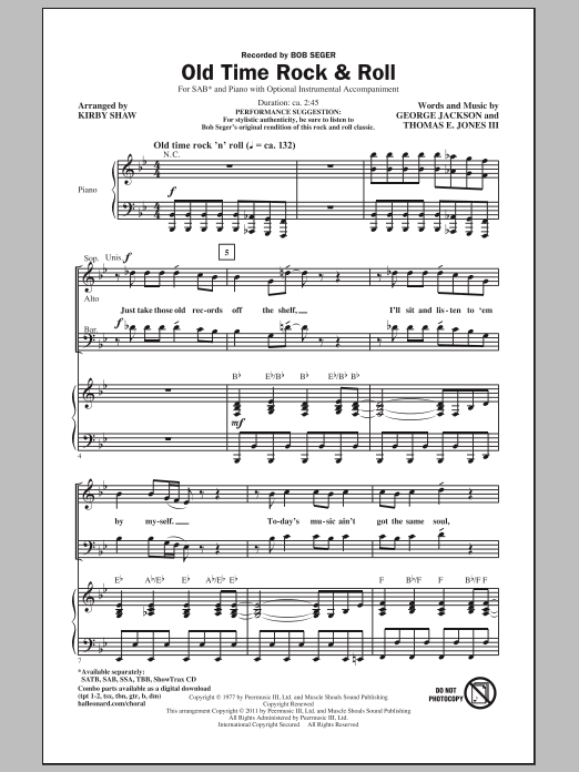 Partition chorale Old Time Rock & Roll de Bob Seger - SAB