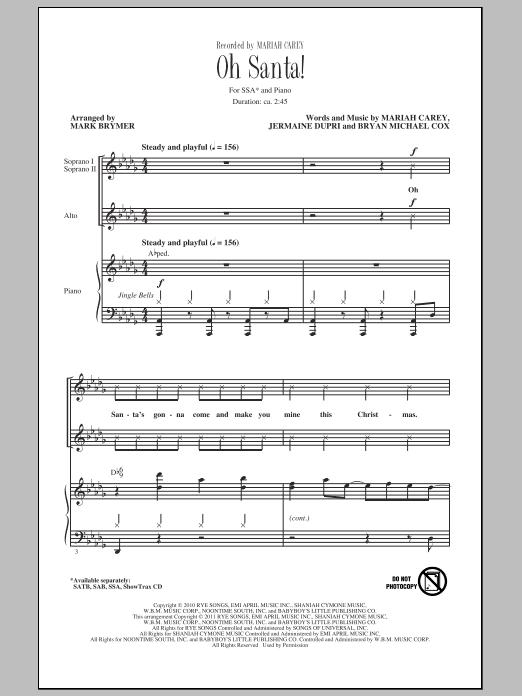 Partition chorale Oh Santa! de Mariah Carey - SSA