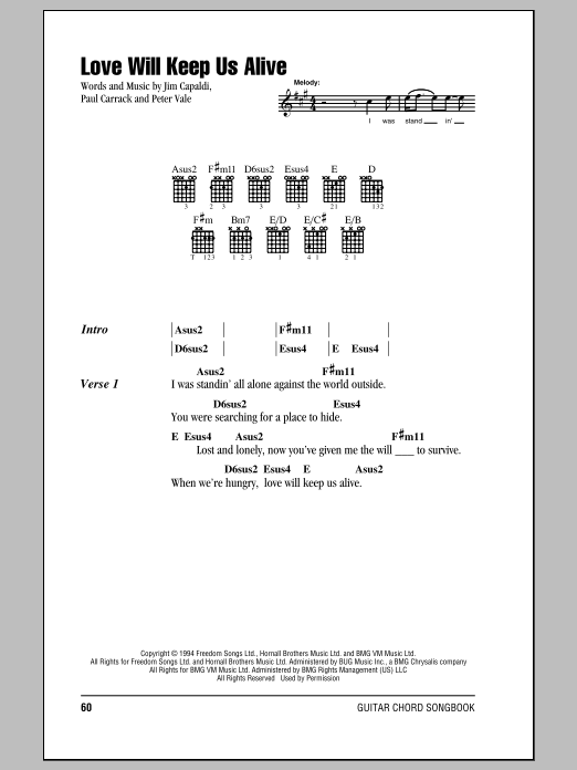 Love Will Keep Us Alive sheet music for guitar solo (chords, lyrics, melody) by Peter Vale