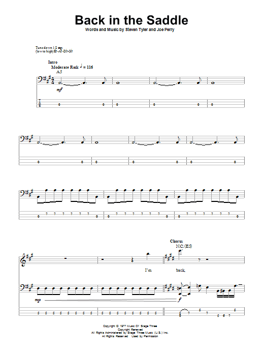 Back In The Saddle sheet music for bass (tablature) (bass guitar) by Steven Tyler