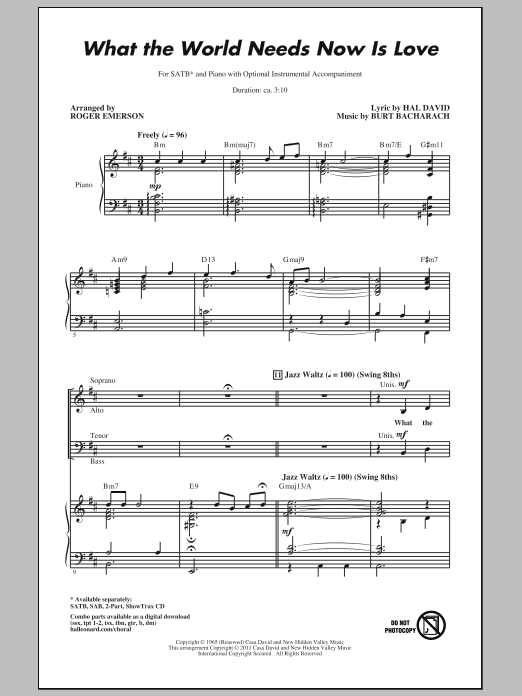 Partition chorale What The World Needs Now Is Love de Jackie DeShannon - SATB