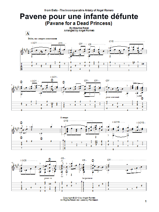 Tablature guitare Pavane Pour Une Infante Defunte (Pavane For A Dead Princess) de Angel Romero - Tablature Guitare