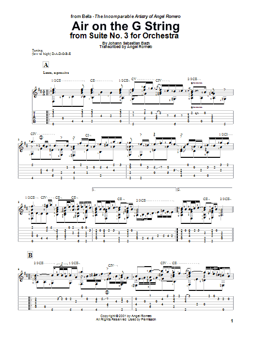 Tablature guitare Air On The G String de Angel Romero - Tablature Guitare