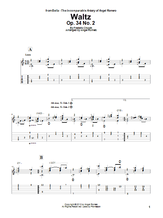 Tablature guitare Waltz, Op. 34 No. 2 de Angel Romero - Tablature Guitare