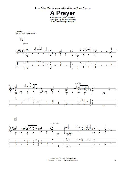 A Prayer sheet music for guitar solo by Yuquijiro Yocoh