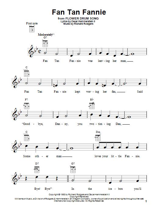 Tablature guitare Fan Tan Fannie de Rodgers & Hammerstein - Ukulele