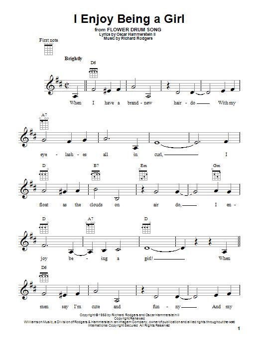 Tablature guitare I Enjoy Being A Girl de Rodgers & Hammerstein - Ukulele