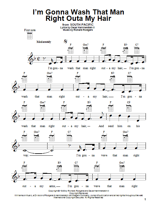 Tablature guitare I'm Gonna Wash That Man Right Outa My Hair de Rodgers & Hammerstein - Ukulele