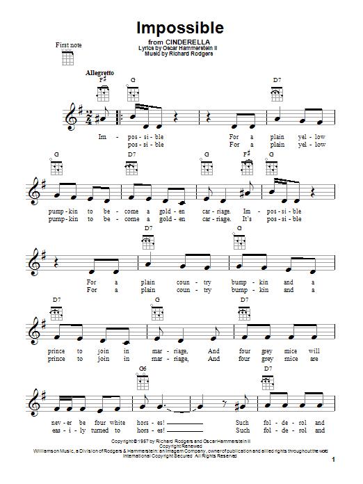 Tablature guitare Impossible de Rodgers & Hammerstein - Ukulele