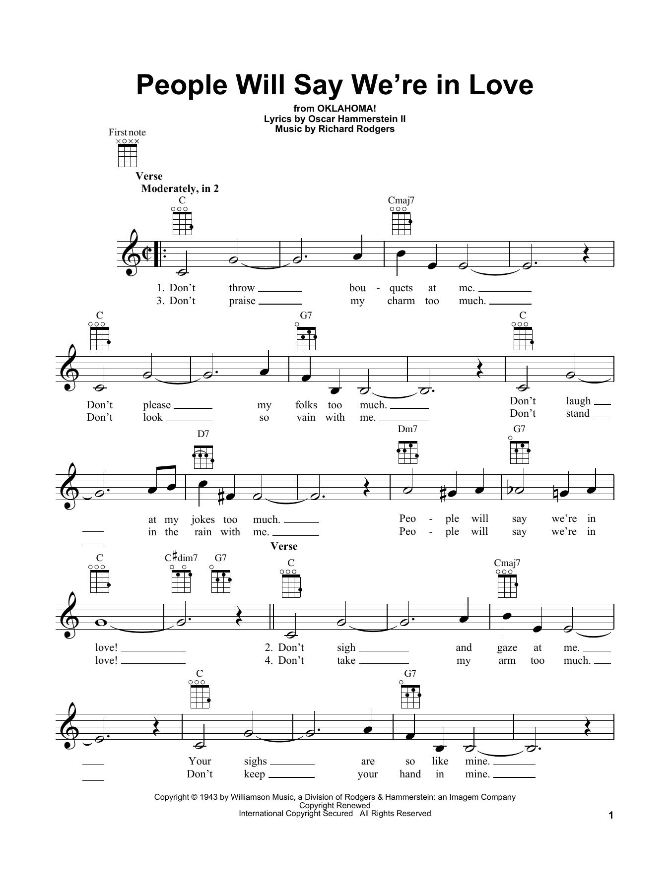 Tablature guitare People Will Say We're In Love de Rodgers & Hammerstein - Ukulele