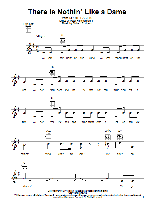 Tablature guitare There Is Nothin' Like A Dame de Rodgers & Hammerstein - Ukulele