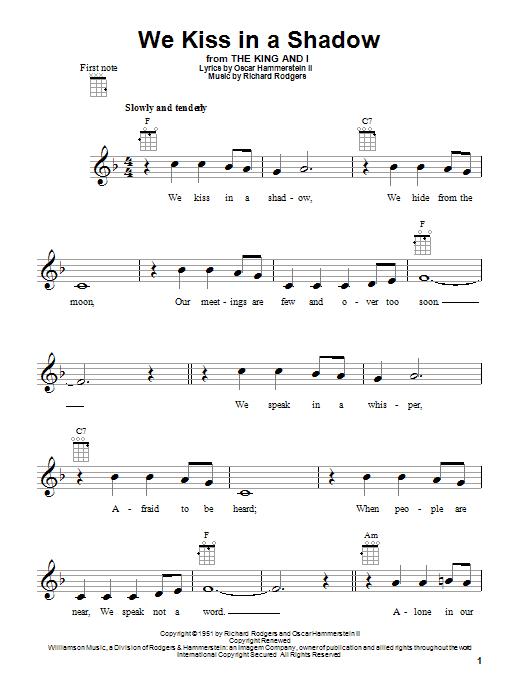 Tablature guitare We Kiss In A Shadow de Rodgers & Hammerstein - Ukulele