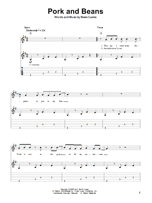 Tablature guitare Pork And Beans de Weezer - Tablature Guitare