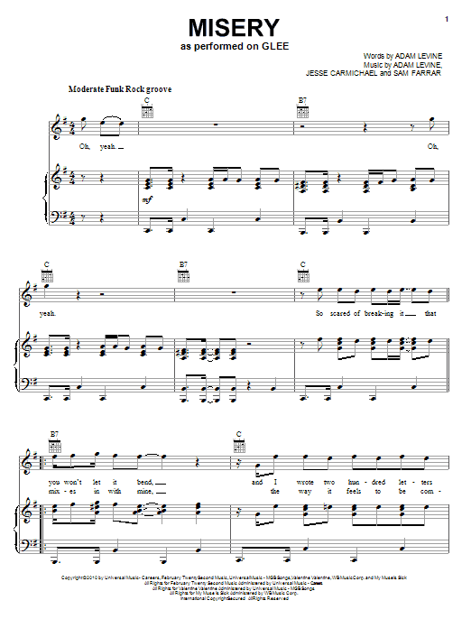Misery sheet music for voice, piano or guitar by Sam Farrar