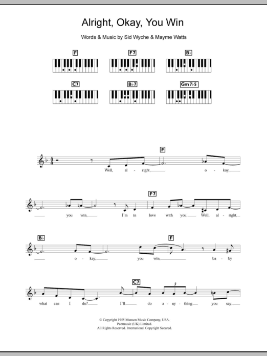 Alright, Okay, You Win sheet music for piano solo (chords, lyrics, melody) by Sid Wyche
