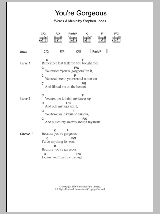 You're Gorgeous sheet music for guitar solo (chords, lyrics, melody) by Steve Jones