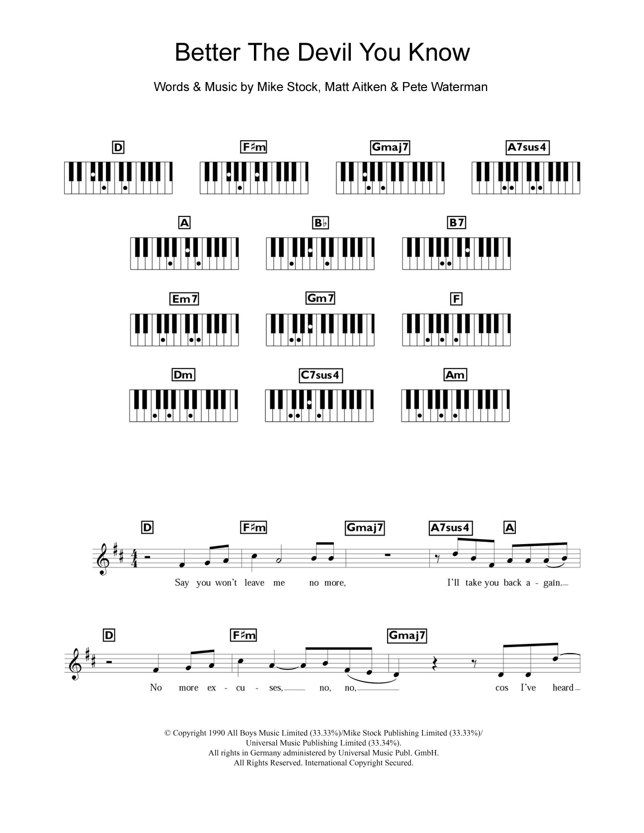 Better The Devil You Know sheet music for piano solo (chords, lyrics, melody) by Pete Waterman