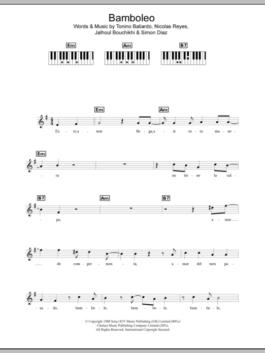 Bamboleo sheet music for piano solo (chords, lyrics, melody) by Tonino Baliardo