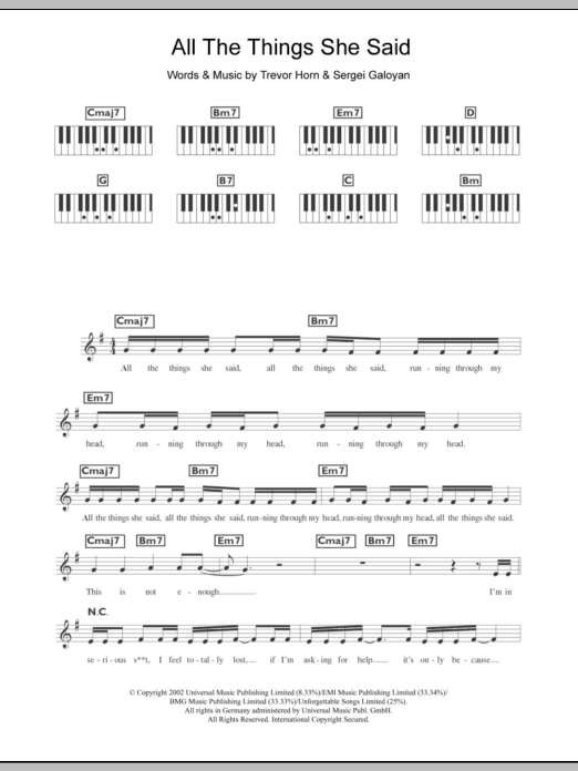 All The Things She Said sheet music for piano solo (chords, lyrics, melody) by Trevor Horn