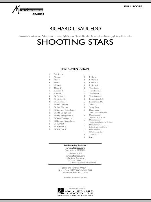 Shooting Stars (COMPLETE) sheet music for concert band by Richard L. Saucedo