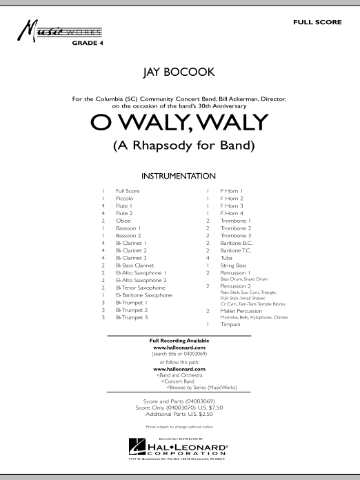 O Waly Waly (A Rhapsody For Band) (COMPLETE) sheet music for concert band by Jay Bocook