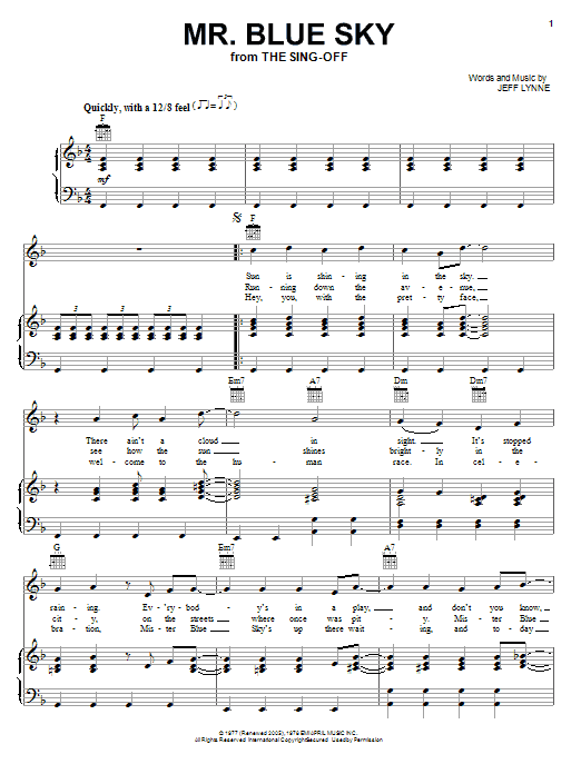 Mr. Blue Sky sheet music by Electric Light Orchestra ... Shakira Chords