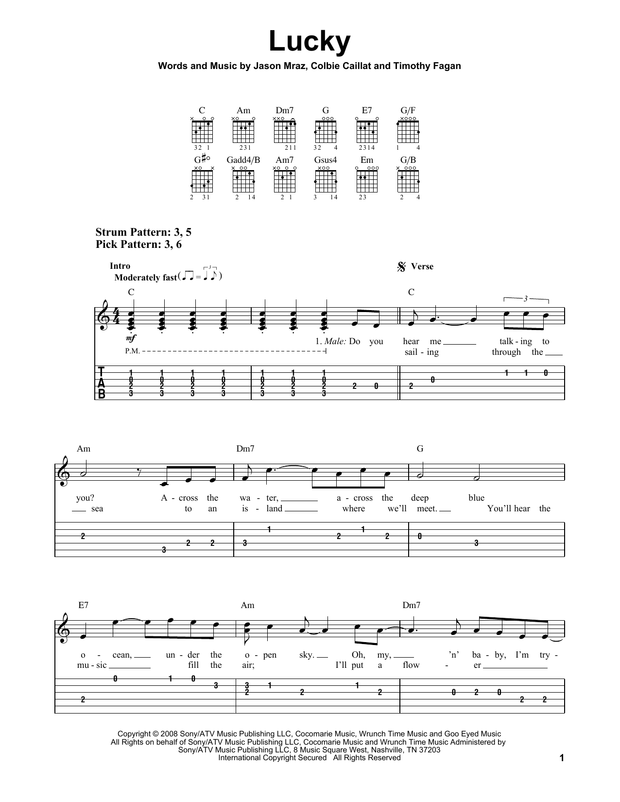 Tablature guitare Lucky de Jason Mraz & Colbie Caillat - Tablature guitare facile