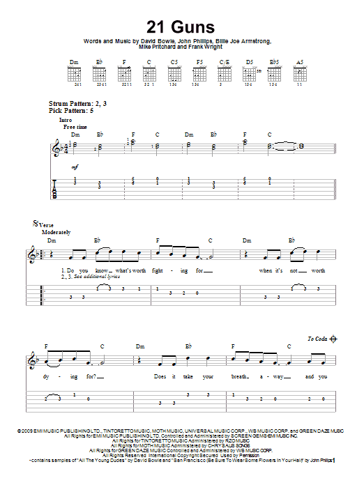 21 Guns by Green Day - Easy Guitar Tab - Guitar Instructor