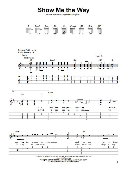 Tablature guitare Show Me The Way de Peter Frampton - Tablature guitare facile