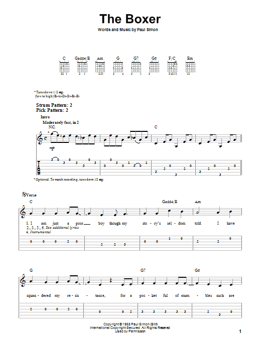 Tablature guitare The Boxer de Simon & Garfunkel - Tablature guitare facile