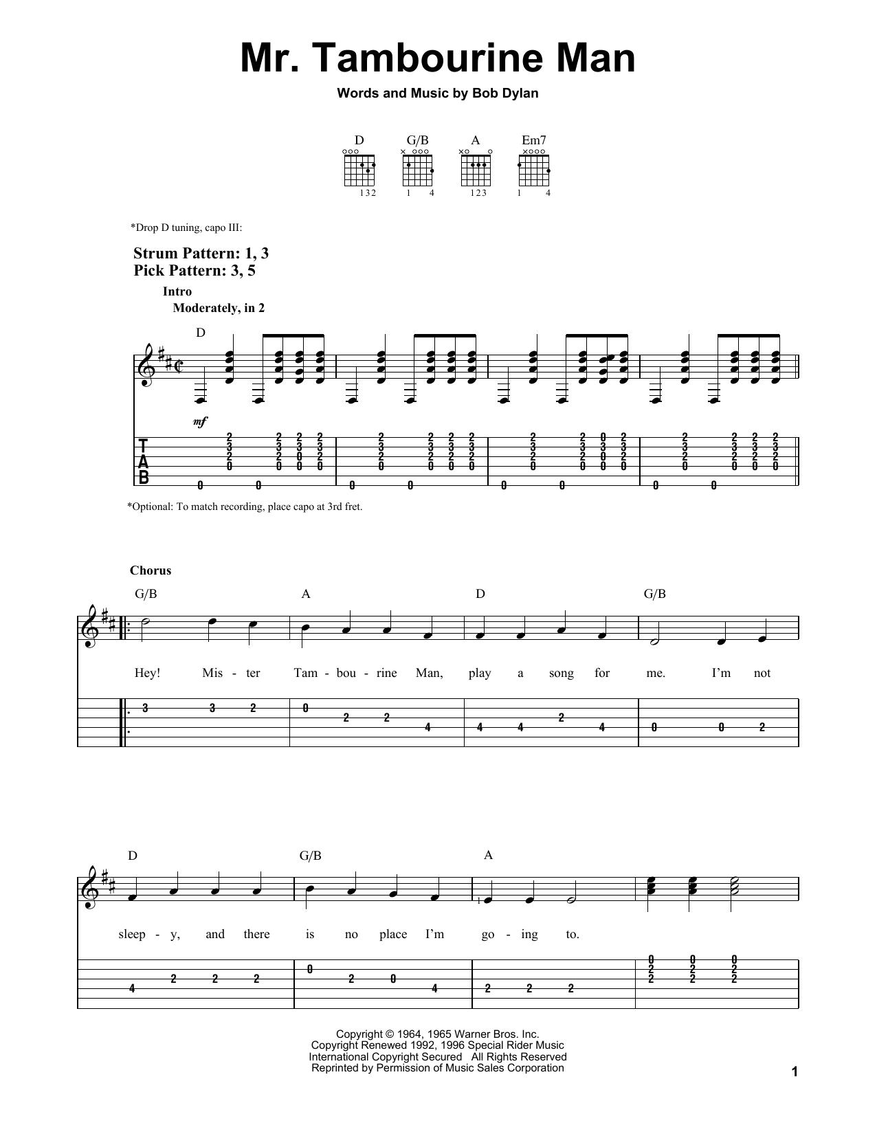 Tablature guitare Mr. Tambourine Man de Bob Dylan - Tablature guitare facile