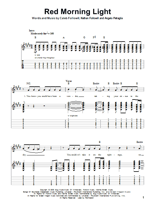 Tablature guitare Red Morning Light de Kings Of Leon - Tablature Guitare